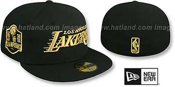 Lakers 2020 CHAMPIONS SIDE PATCH Black Fitted Hat by New Era
