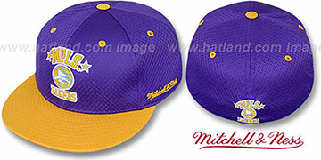 Lakers 2T BP-MESH Purple-Gold Fitted Hat by Mitchell & Ness