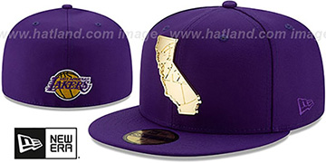 Lakers ALL GOLD STATED METAL-BADGE Purple Fitted Hat by New Era