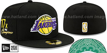 Lakers BANDANA KELLY BOTTOM Black Fitted Hat by New Era