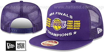 Lakers CHAMPIONS TRUCKER SNAPBACK Purple Hat by New Era