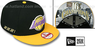 Lakers 'CHAMPS-HASH SNAPBACK' Black-Gold Hat by New Era
