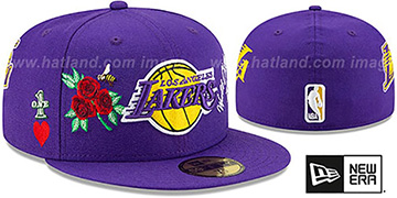 Lakers 'CHAMPS-N-ROSES' Purple Fitted Hat by New Era