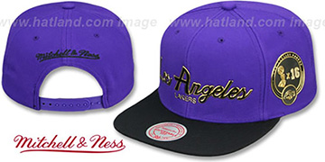 Lakers 'CITY CHAMPS SCRIPT SNAPBACK' Purple-Black Hat by Mitchell and Ness