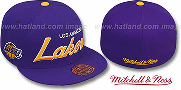 Lakers 'CLASSIC-SCRIPT' Purple Fitted Hat by Mitchell & Ness
