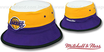 Lakers 'COLOR-BLOCK BUCKET' White-Gold-Purple Hat by Mitchell and Ness