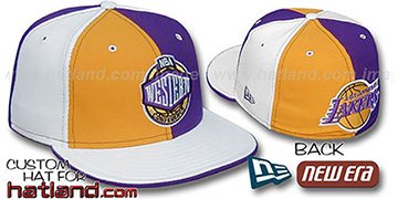 Lakers CONFERENCE PINWHEEL Gold-Purple-White Fitted Hat