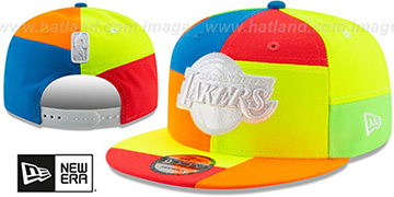 Lakers DAYGLOW PATCHWORK SNAPBACK Hat by New Era
