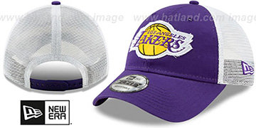 Lakers FRAYED LOGO TRUCKER SNAPBACK Hat by New Era