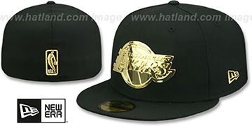 Lakers GOLD METAL-BADGE Black Fitted Hat by New Era