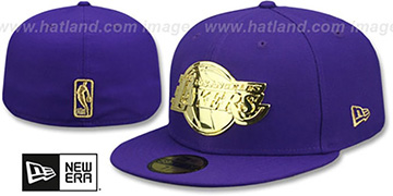 Lakers GOLD METAL-BADGE Purple Fitted Hat by New Era