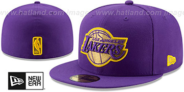 Lakers GOLD METALLIC STOPPER Purple Fitted Hat by New Era