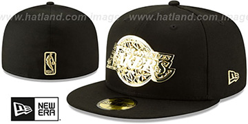Lakers GOLD SHATTERED METAL-BADGE Black Fitted Hat by New Era
