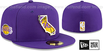 Lakers GOLD STATED INSIDER Purple Fitted Hat by New Era