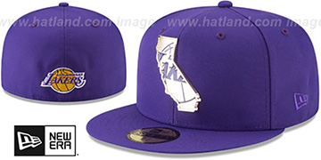 Lakers GOLD STATED METAL-BADGE Purple Fitted Hat by New Era