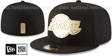 Lakers 'GOLDEN-BADGE' Black Fitted Hat by New Era