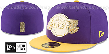 Lakers GOLDEN-BADGE Purple-Gold Fitted Hat by New Era