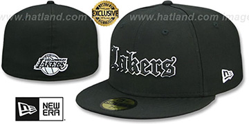 Lakers 'GOTHIC TEAM-BASIC' Black Fitted Hat by New Era