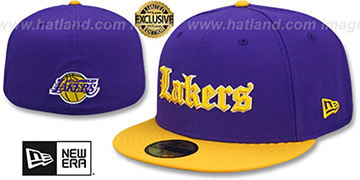 Lakers GOTHIC TEAM-BASIC Purple-Gold Fitted Hat by New Era