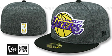 Lakers HEATHER-HUGE Grey-Black Fitted Hat by New Era