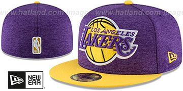 Lakers HEATHER-HUGE Purple-Gold Fitted Hat by New Era