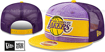 Lakers HERITAGE-BAND TRUCKER SNAPBACK Purple-Gold Hat by New Era