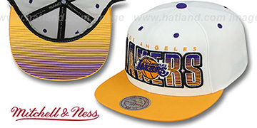 Lakers 'HOMESTAND SNAPBACK' White-Gold Hat by Mitchell and Ness