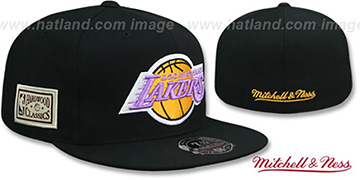 Lakers 'HWC SIDE-PATCH' Black Fitted Hat by Mitchell and Ness
