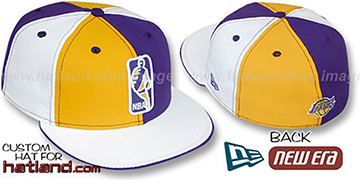 Lakers 'KEY-INSIDER PINWHEEL' Gold-Purple--White Fitted Hat
