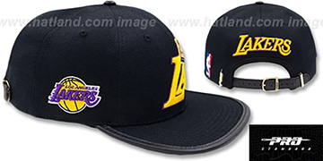 Lakers 'LA-CROWN STRAPBACK' Black Hat by Pro Standard