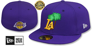 Lakers LA PALM PINK-BOTTOM Purple Fitted Hat by New Era