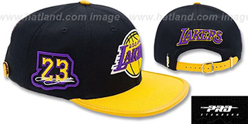 Lakers LEBRON SIDE STRAPBACK Black-Gold Hat by Pro Standard
