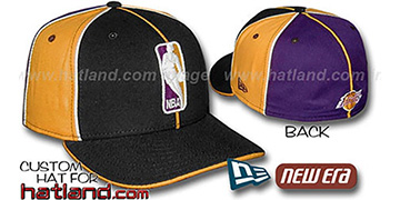Lakers 'LOGOMAN-3' Black-Gold-Purple Fitted Hat by New Era