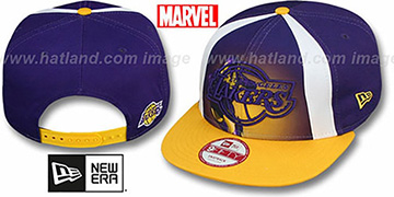Lakers MARVEL RETRO-SLICE SNAPBACK Purple-Gold Hat by New Era