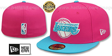 Lakers MIAMI VICE Beetroot-Blue Fitted Hat by New Era
