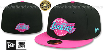 Lakers MIAMI VICE Black-Beetroot Fitted Hat by New Era