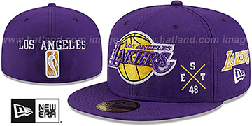 Lakers MULTI-AROUND Purple Fitted Hat by New Era