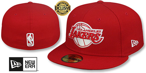 Lakers NBA TEAM-BASIC Red-White Fitted Hat by New Era