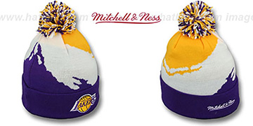 Lakers PAINTBRUSH BEANIE by Mitchell and Ness
