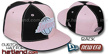 Lakers PINWHEEL Black-Pink Fitted Hat by New Era