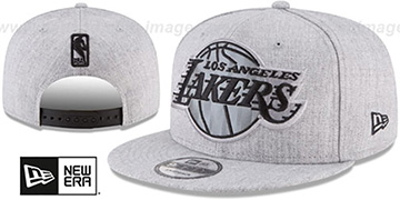 Lakers 'SILKED-XL SNAPBACK' Heather Light Grey Hat by New Era