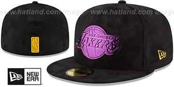 Lakers SUEDED PURPLE METAL-BADGE Black Fitted Hat by New Era