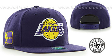 Lakers 'SURE-SHOT SNAPBACK' Purple Hat by Twins 47 Brand