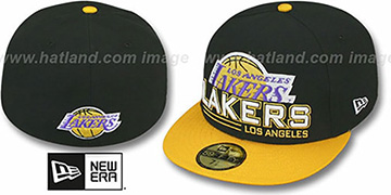 Lakers 'TECH MARK' Black-Gold Fitted Hat by New Era