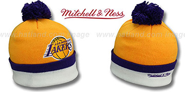 Lakers 'XL-LOGO BEANIE' Gold by Mitchell and Ness