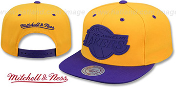 Lakers 'XL RUBBER WELD SNAPBACK' Gold-Purple Adjustable Hat by Mitchell and Ness