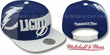 Lightning 'LASER-STITCH SNAPBACK' Navy-White Hat by Mitchell and Ness