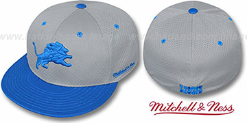 Lions 2T BP-MESH Grey-Blue Fitted Hat by Mitchell & Ness