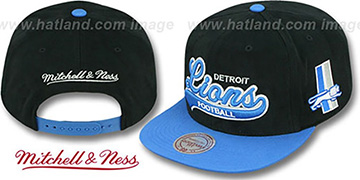Lions '2T TAILSWEEPER SNAPBACK' Black-Blue Hat by Mitchell & Ness