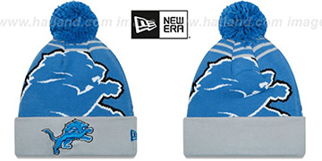 Lions 'LOGO WHIZ' Blue-Grey Knit Beanie Hat by New Era